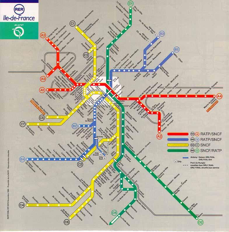 Plan du réseau rer parisien